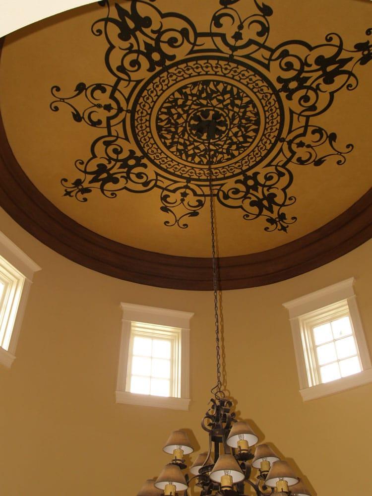 Large Raised Ceiling Medallion Stenciled