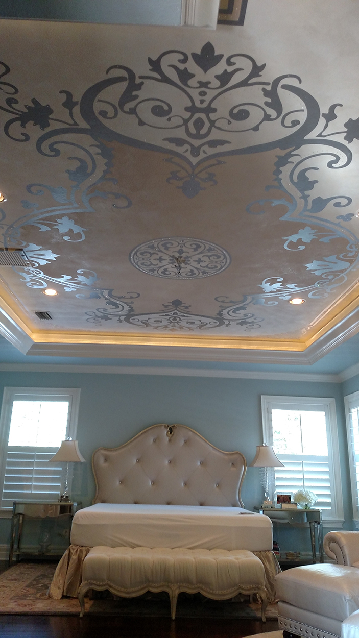 Metallic Sueded Plaster And Paint Ceiling Design With Genuine Swarovski Crystals