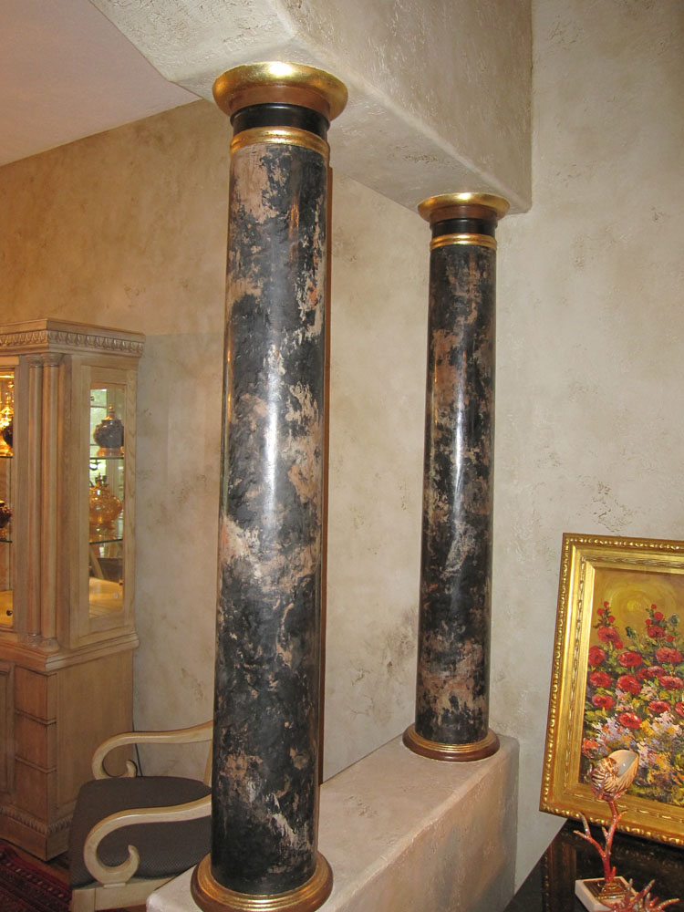 Faux Painted Columns Part - 42: Faux Marbled Columns With Gold Leaf Accents, Staircase Spindles Painted  With Gold Accents, Faux Wood Grained Hand Rail And Textured/glazed Walls.