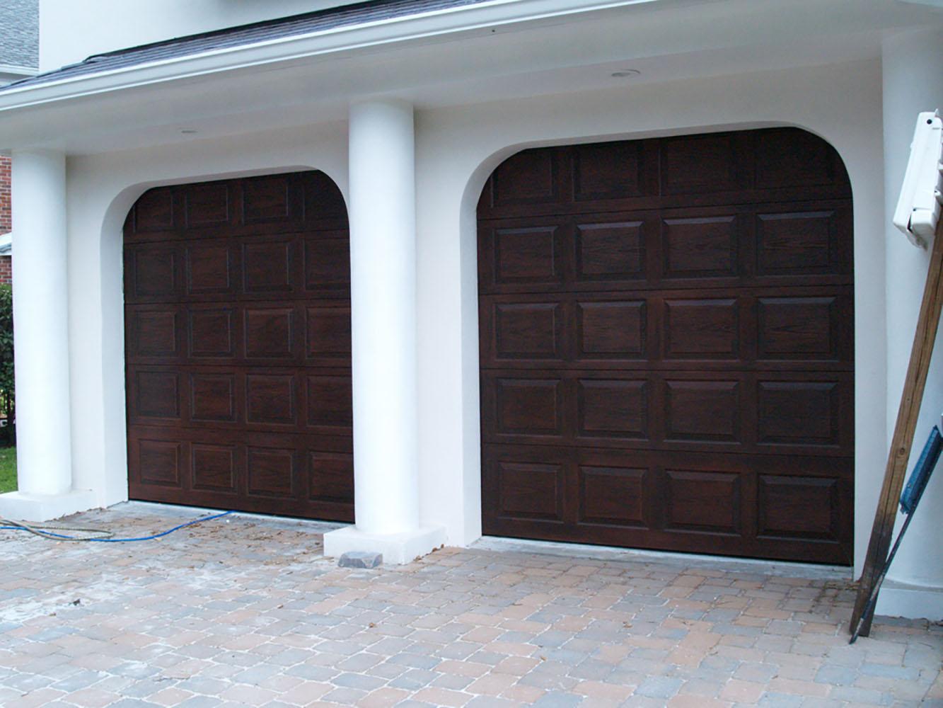 Faux Wood Grained Garage Doors