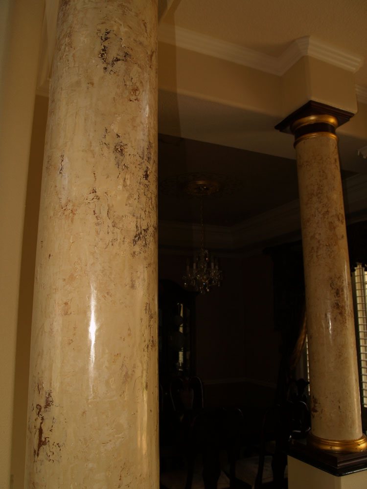 Faux Painted Columns Part - 26: Faux Marbled Columns With Gold Leafing
