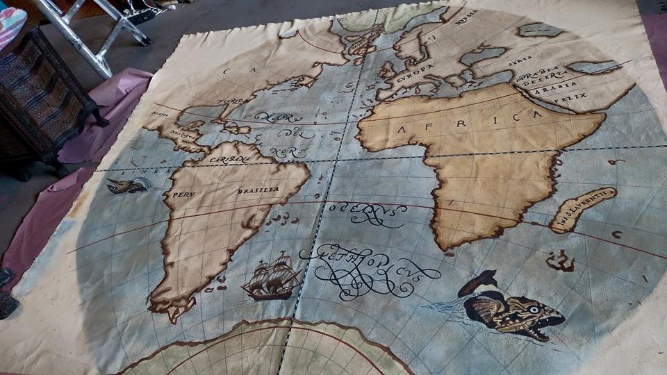 Custom murals in tampa and st petersburg splat paint old world map mural painted on canvas prior to installation gumiabroncs Choice Image